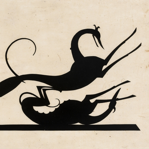 """Hunt Diederich (1884–1953), """"Greyhounds Playing."""" Paper cutout, 6 x 11 in. (detail)."""