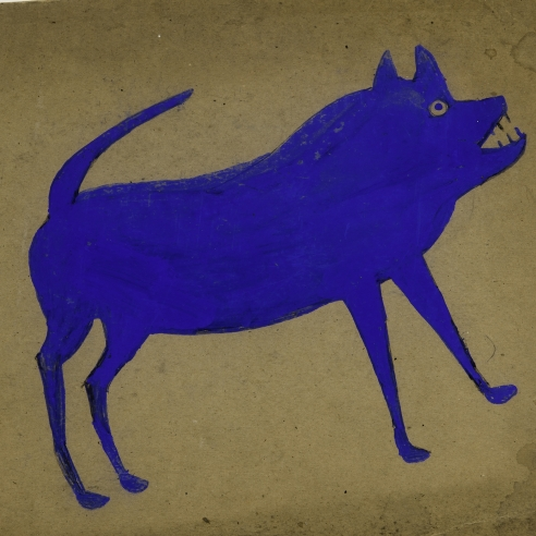 a painting by self-taught artist Bill Traylor of a blue dog
