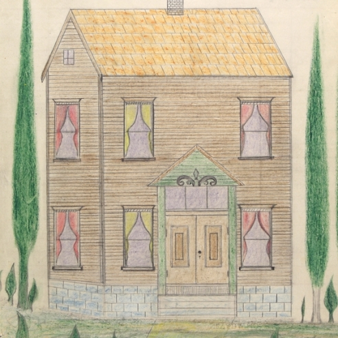 a double-sided drawing by Self-taught artist Edward Deeds of a house