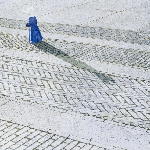 "ROBERT VICKREY (1926–2011), ""Nun Walking a Brick Road."" Egg tempera on Masonite, 15 7/8 x 21 7/8 in. Detail."