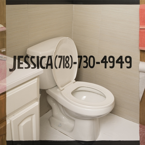 trompe l'oeil photograph of a bathroom wherein a girl's name and phone number are written across the image