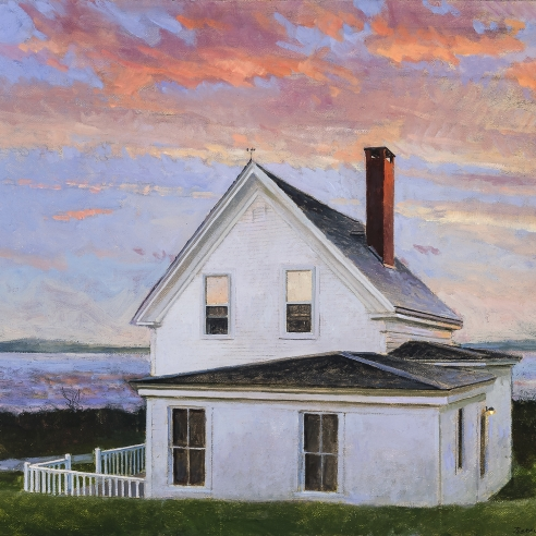 "Image of Peter Poska's ""Stonington Sunset,"" oil on canvas mounted on board, 14 3/4 by 16 3/16 inches, painted in 2014."