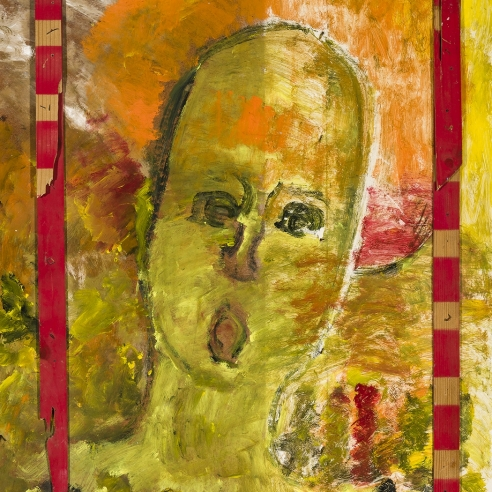 a paint and wood assemblage of an angel with an open-mouth by Self-taught artist Purvis Young