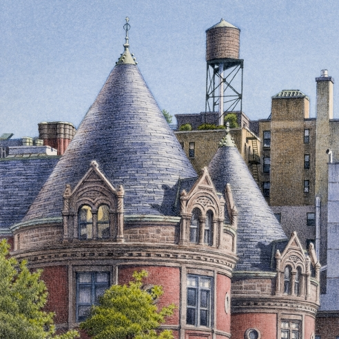 watercolor painting of New York City rooftops