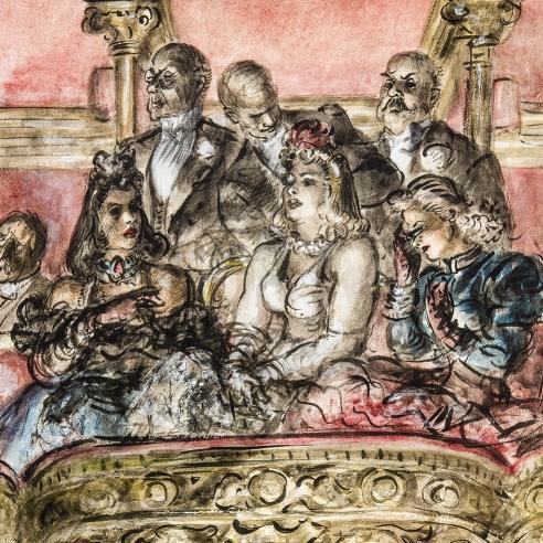 REGINALD MARSH (1898–1954), Metropolitan Opera, 1940. Chinese ink and watercolor on paper, 22 3/4 x 15 3/4 in.