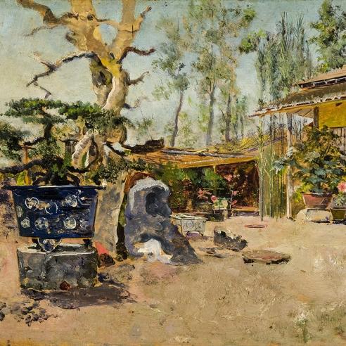 HARRY HUMPHREY MOORE (1844–1926), Japanese Tea Garden, 1881. Oil on wood panel, 6 3/8 x 10 7/8 in. (detail).