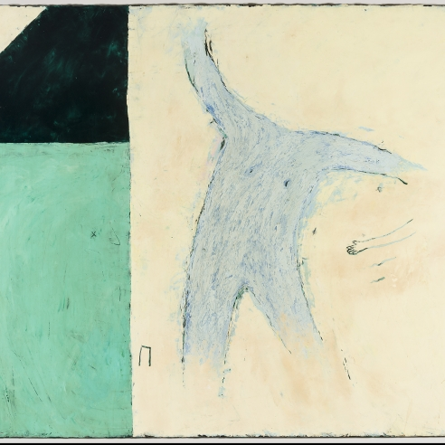 Image of Louisa Chase's Untitled, painted in 1979. Oil and wax on canvas, 40 and 1/4 by 48 inches.