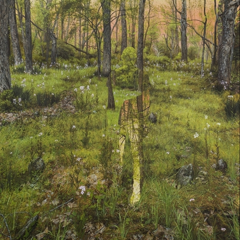 an egg tempera painting by Colin Hunt of a silhouette's void in a landscape