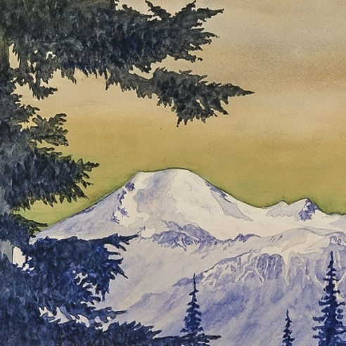 ZAMA VANESSA HELDER (1904–1968), Mount Baker, Washington, about 1929. Watercolor on paper, 5 3/4 x 9 in. (detail).
