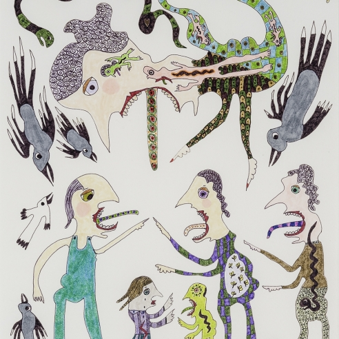 a drawing by self-taught artist Jeanne Brousseau of multiple fantastical figures and animals with open mouths and tongues sticking out