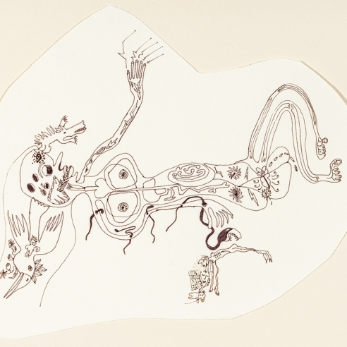 a fantastical drawing of a figure by self-taught artist Jeanne Brousseau