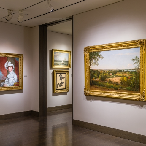 """""""American Cornucopia."""" Installation view showing 7 pictures on display."""