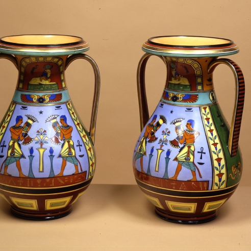 Pair Two-Handled Vases with Egyptian Decoration