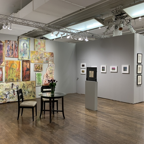 installation view of the gallery's presentation at the Outsider Art Fair, January 2020