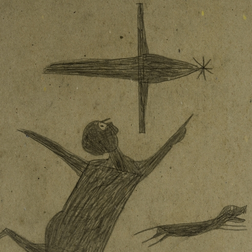 a drawing by self-taught artist Bill Traylor of a man pointing at an airplane, with a dog and another figure