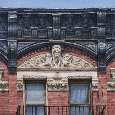 watercolor painting of the top of a building on Delancey Street in New York City