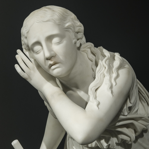 RANDOLPH JOHN ROGERS (1825–1892), Nydia, the Blind Flower Girl of Pompeii, 1862. Marble, 36 1/2 in. high (detail).
