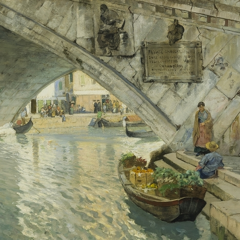 FRITS THAULOW (1847–1906), Under the Rialto Bridge of Venice, 1885. Oil on canvas, 25 x 34 in. (detail).