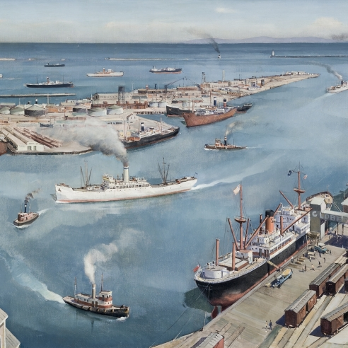 PAUL SAMPLE (1896–1974), San Pedro Harbor, 1937. Oil on canvas, 30 x 40 in.