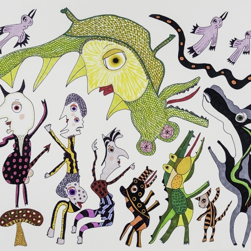 a drawing by self-taught artist Jeanne Brousseau of multiple fantastical figures and animals