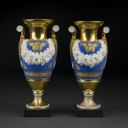 "Pair ""Old Paris"" Vases with Garlands of Bisquit Flowers"