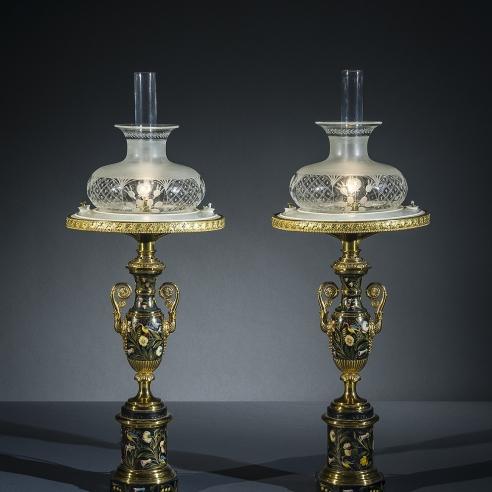 Pair Sinumbra Lamps in the Restauration Taste