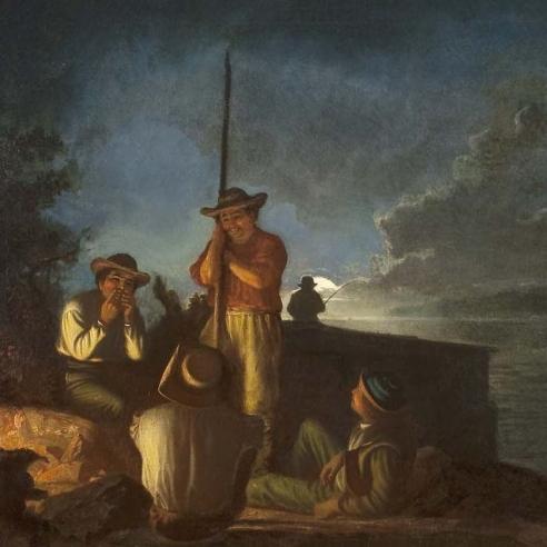 "GEORGE CALEB BINGHAM (1811–1879), ""Woodboatmen on a River [Western Boatmen Ashore by Night],"" 1854. Oil on canvas, 29 x 36 in. (detail)."