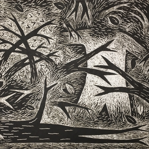 Image of Louisa Chase's Thicket (Black and White), created in 1983. Woodcut on Japanese fiber paper, 30 by 36 inches.