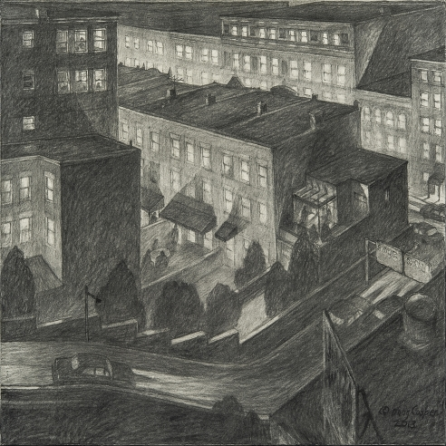 "image of Douglas Cooper's ""Left Turn From the Viaduct,"" charcoal on paper mounted on board, 24 by 24 inches, created in 2013."