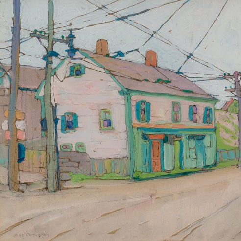 """Jane Peterson (1876–1965), """"A Street in Gloucester,"""" c. 1916–20. Gouache on paper, 18 x 23 5/8 in. (detail)."""