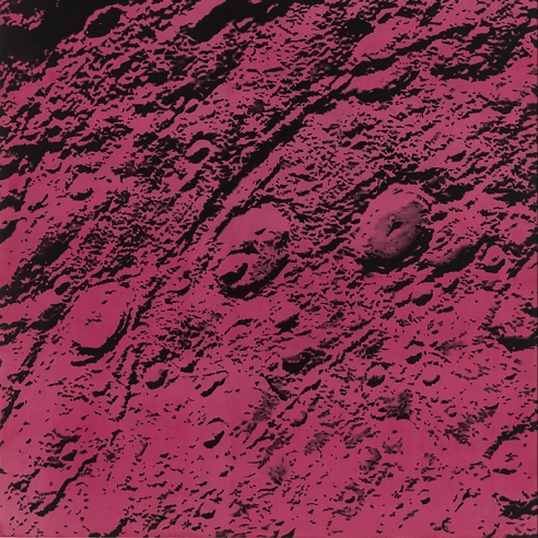 a drawing by Andy Mister of the surface of Mars on a deep red background
