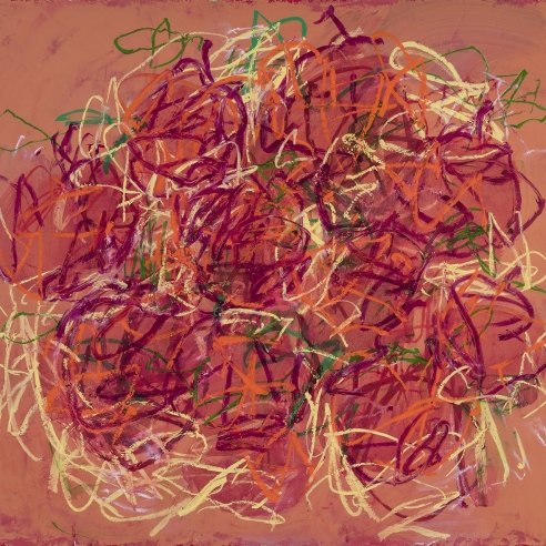 a very gestural painting of a bowl of cherries by Louisa Chase
