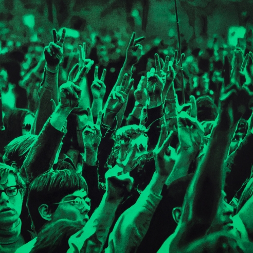 an electric green and black drawing of a crowd of protesters all making peace-signs with their hands