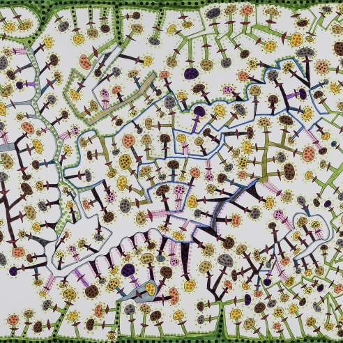 an abstract, maze-like drawing by self-taught artist Jeanne Brousseau