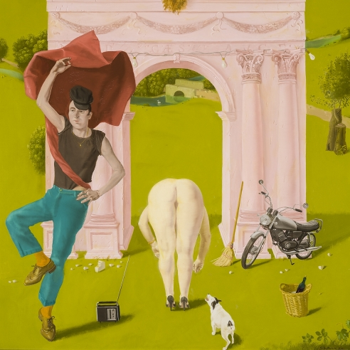a surrealist painting by Honore Sharrer showing a triumphal arch in a landscape with nude women and a dancing motorcyclist