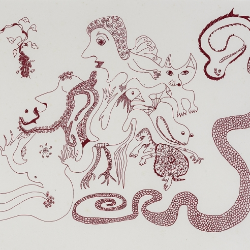 a fantastical drawing of a man and woman surrounded by animal hybrids by self-taught artist Jeanne Brousseau