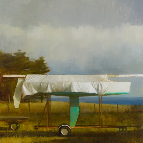 a painting by Randall Exon of a green sailboat, wrapped in a tarp and on a trailer