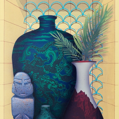 heavily patterned vases and a small totem sit in a recessed, yellow shelf in this painting by Robert Minervini
