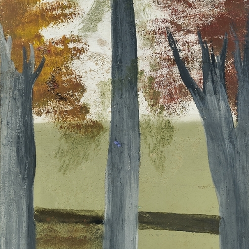 a landscape painting by Frank Walter of trees with gray trunks against a black fence
