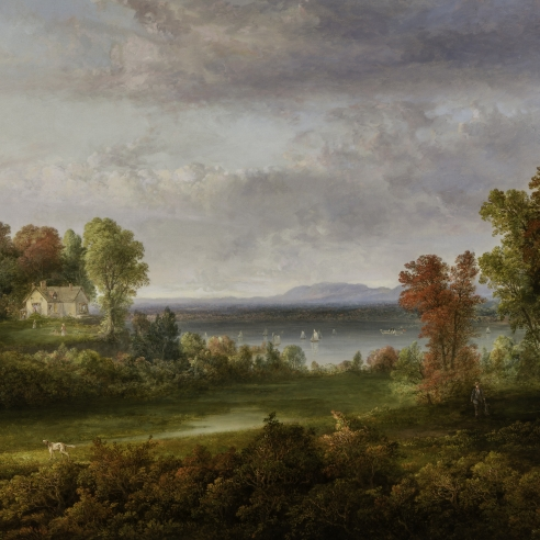 "THOMAS DOUGHTY (1791–1856), ""Hudson River Landscape,"" 1852. Oil on canvas, 38 x 48 in. (detail)."