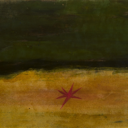 a painting by Frank Walter of a red starfish on a dark yellow beach with deep green water