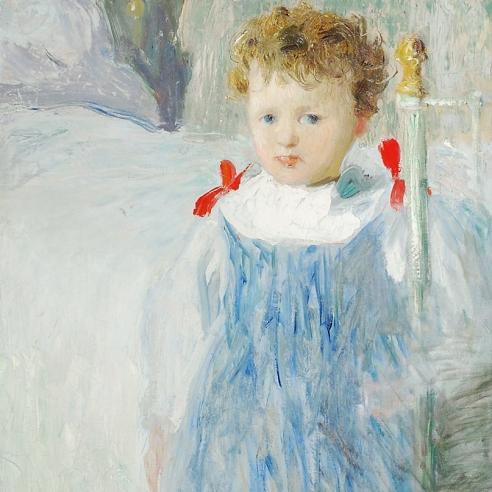"JULIAN ALDEN WEIR (1852–1919), ""Dorothy,"" 1893. Oil on canvas, 33 1/2 x 23 7/8 in. (detail)."