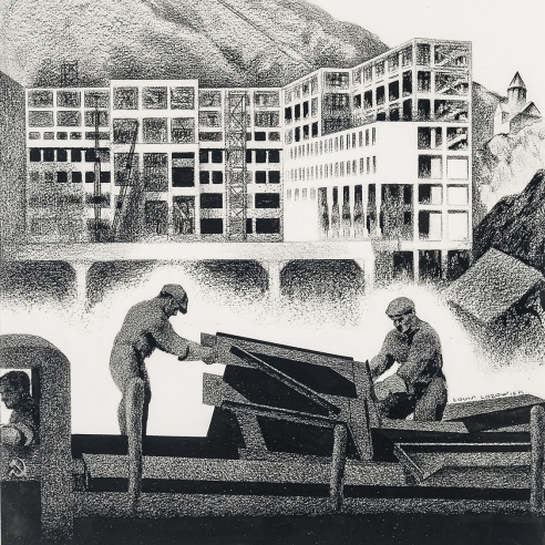 """LOUIS LOZOWICK (1892–1973), """"Construction,"""" 1933. Carbon pencil and ink on paper, 14 x 10 3/4 in. (detail)."""