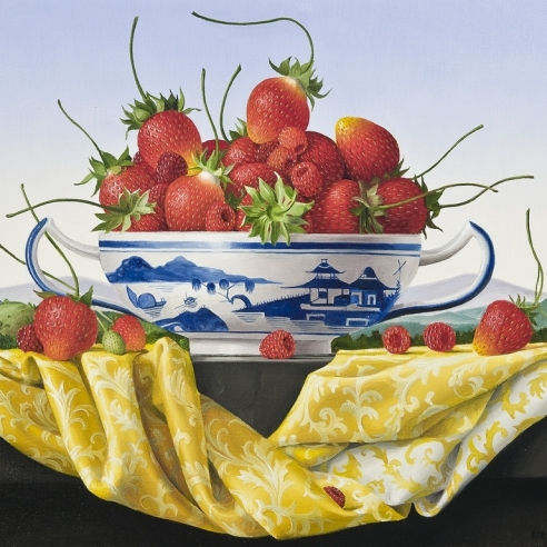 a painting by James Aponovich of strawberries in a blue and white, Chinese porcelain bowl