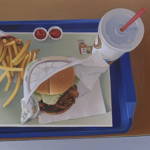 a highly realist painting by Marc Trujillo of fast food on a blue tray