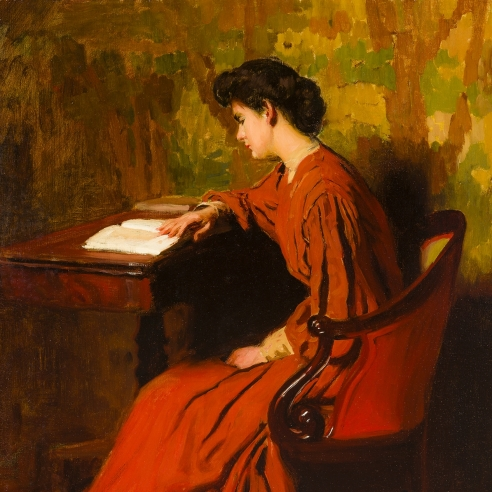 THOMAS ANSHUTZ (1851–1912), Woman Reading at a Desk, c. 1910. Oil on canvas, 26 x 24 in. (detail).