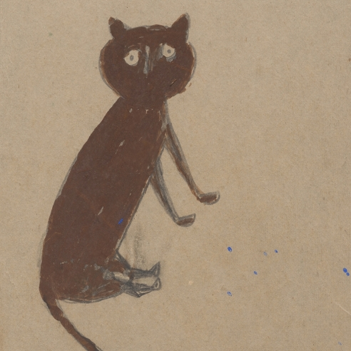 a painting of a brown cat by Self-taught artist Bill Traylor