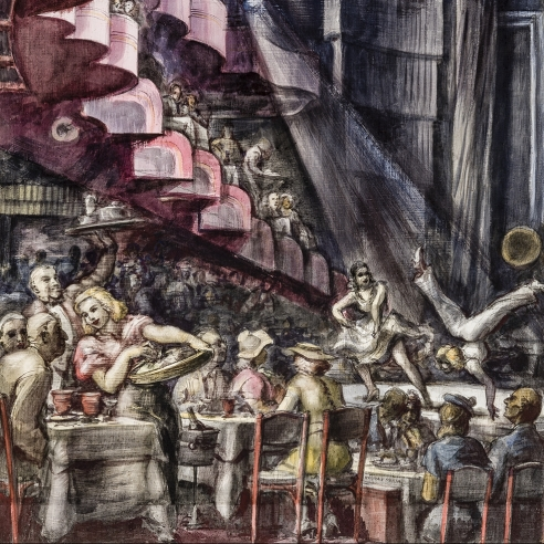 REGINALD MARSH (1898–1954), Cabaret, 1938. Tempera and pencil on gessoed panel, 35 3/4 x 23 3/4 in. (detail)