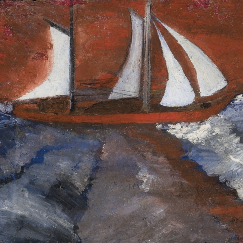 a marine painting by Frank Walter of a red sailboat in a turbulent ocean with a bright red sky