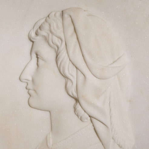 MARGARET FOLEY (1827–1877), Pascuccia, 1864. Marble, oval bas-relief, 11 x 10 in. (detail).
